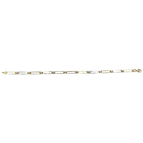 9ct Yellow White Gold Rectangle And Roll Ladies Bracelet 7.75inch 2.4g 3.5mm - Richard Miles Jewellers