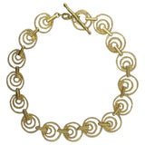 9ct Yellow White Gold Triple Circle Ladies T Bar Fastening Bracelet  7.25inch 5.5g - Richard Miles Jewellers