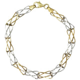 9ct Yellow White Gold Unique 3D Twisted Links Ladies Bracelet 7.5inch 4.5g - Richard Miles Jewellers