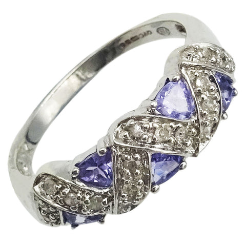 9ct White Gold 0.3ct Diamond & Purple Cubic Zirconia Cluster Ring Size P 3.4g