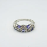 9ct White Gold 0.3ct Diamond & Tanzanite Ladies Cluster Ring Size P 3.4g - Richard Miles Jewellers