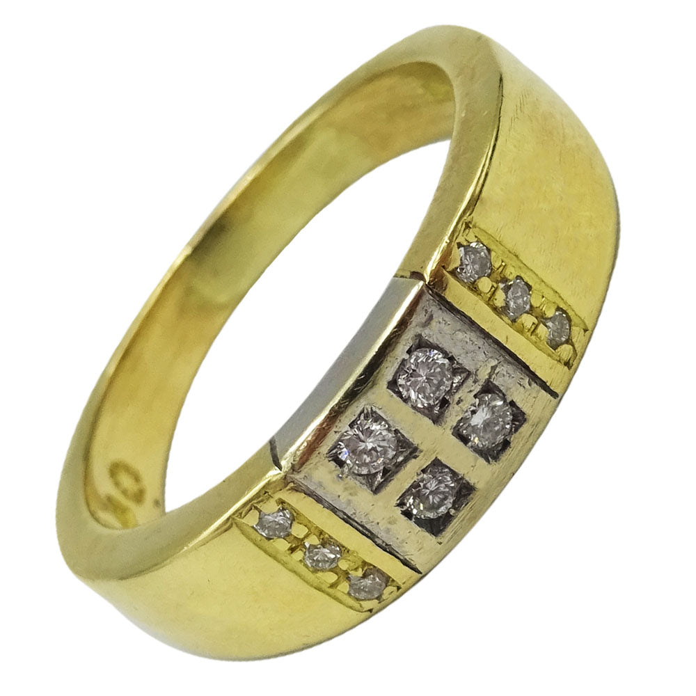 18ct Yellow Gold 0.15ct Diamond Men's Quality Ring Size R 6.4g 6.3mm - Richard Miles Jewellers