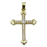 14ct Yellow Gold Sparkly Cubic Zirconia Quality Cross Pendant 1.8g 33mmx18.35mm - Richard Miles Jewellers
