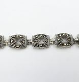 925 Sterling Silver Fancy Marcasite Ladies Bracelet 7.5inch 16.7g 9mm - Richard Miles Jewellers