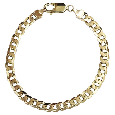 9ct Yellow Gold Quality Shiny Finish Flat Curb Bracelet 7.75inch 9.8g 5.85mm - Richard Miles Jewellers