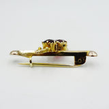 9ct Yellow Gold Vintage Detailed Claw Set Oval Garnet Ladies Broche 40mm 3.6g - Richard Miles Jewellers