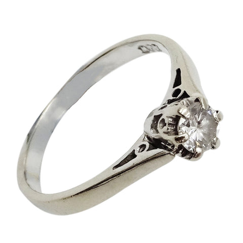 18ct White Gold Solitaire 0.25ct Diamond Ladies Engagement Ring Size M 2.6g - Richard Miles Jewellers