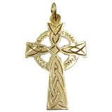 9ct Yellow Gold Detailed Unisex Celtic Cross 28mm x 16mm 1g - Richard Miles Jewellers