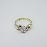 9ct Yellow Gold Fancy  0.03ct Diamond Cluster Ladies Ring Size Size K 2.4g - Richard Miles Jewellers