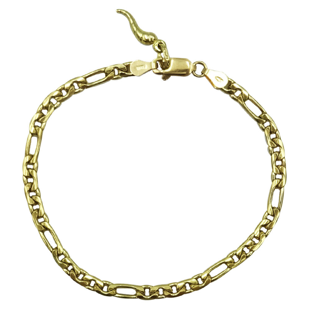 18ct Yellow Gold Shiny Figaro Bracelet With Horn Of Life Charm 7.5inch - Richard Miles Jewellers