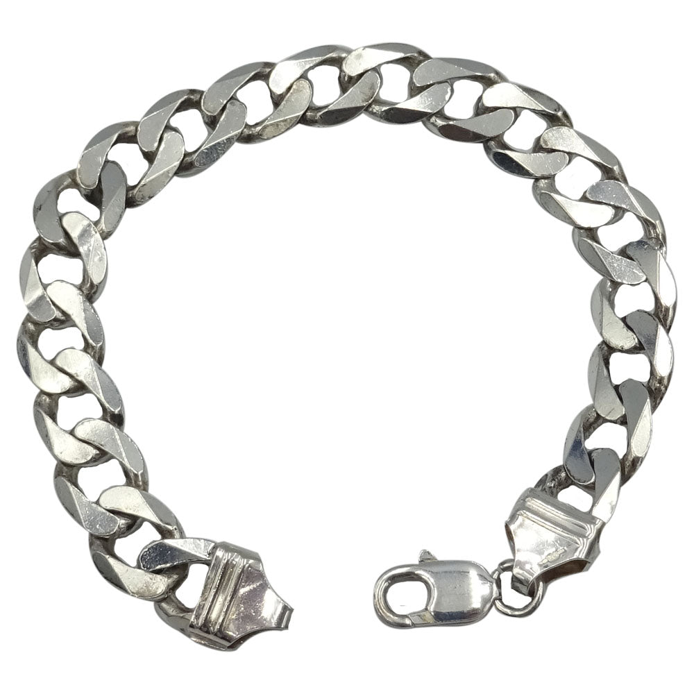 925 Sterling Silver Men's Heavyweight Flat Curb Bracelet 8.5inch 31.2g 11mm - Richard Miles Jewellers