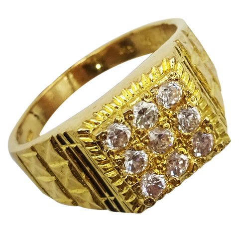 22ct Yellow Gold Detailed Men's Quality Sparkly Cubic Zirconia Ring R 1/2 8.2g - Richard Miles Jewellers