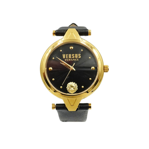 Versus Versace Stainless Steel Black & Gold Leather Strap Watch SCI11 - Richard Miles Jewellers
