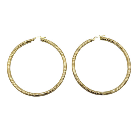 9ct Yellow Gold Swirl 50mm Ladies Hoop Earrings 3.4g - Richard Miles Jewellers