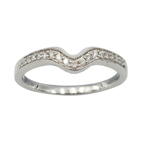 18ct White Gold 'U' Shaped Claw Set Diamond 0.11ct Ring Size O - Richard Miles Jewellers