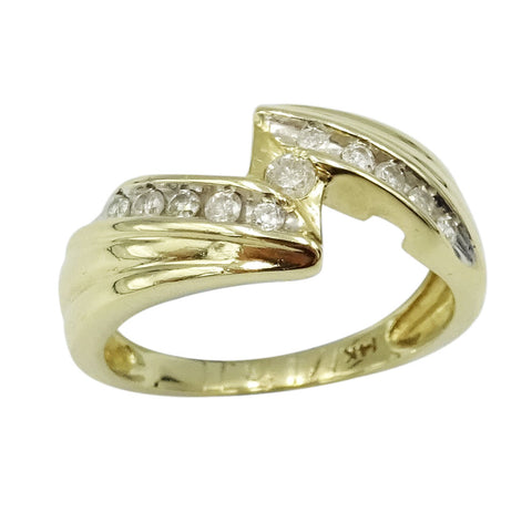 14ct Yellow Gold Diamond Lightning Cluster Ring 0.15ct Size M 1/2 - Richard Miles Jewellers