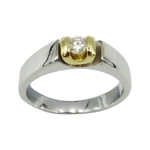 18ct Two Colour Gold Ladies Diamond Ring 0.10ct Size K 1/2 - Richard Miles Jewellers