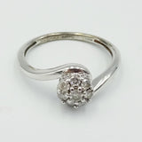 9ct White Gold Diamond Cluster Twist Ring 2.3g 0.25ct Size M - Richard Miles Jewellers