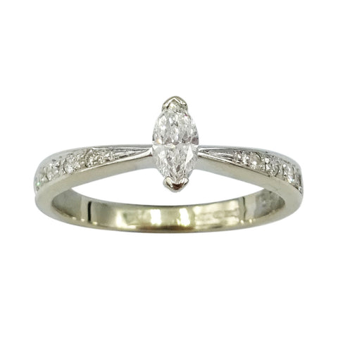 18ct White Gold Marquise Cut Diamond Ring 0.25ct J 1/2 - Richard Miles Jewellers