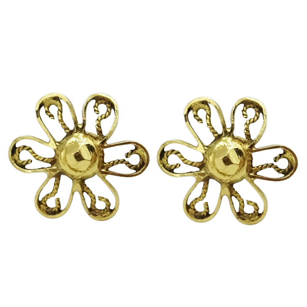 9ct Yellow Gold Daisy Flower Stud Earrings 1.6g - Richard Miles Jewellers