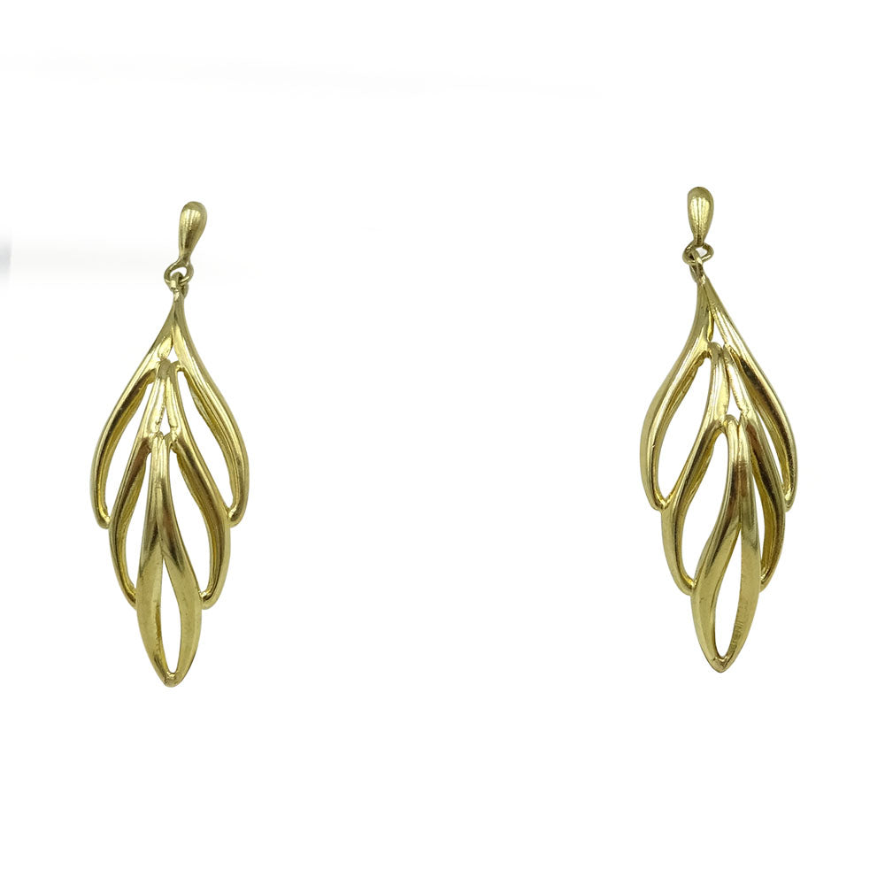 9ct Yellow Gold Lightweight Leaf Drop Stud Earrings - Richard Miles Jewellers