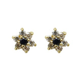 9ct Yellow Gold Sapphire & Cubic Zirconia Flower Stud Earrings - Richard Miles Jewellers