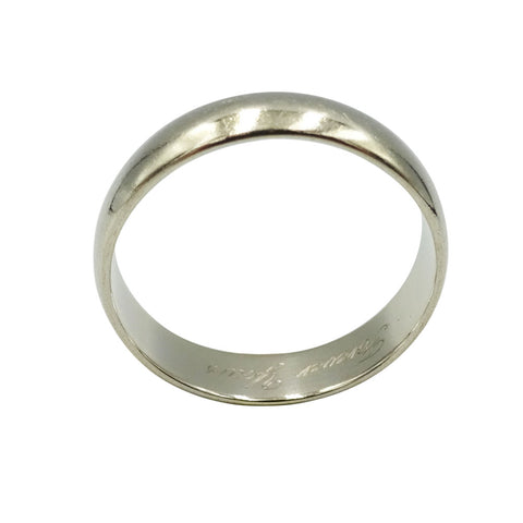 9ct White Gold Wedding Band 4mm 'Forever Yours'  M 1/2 - Richard Miles Jewellers