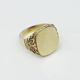 9ct Yellow Gold Gents Cushion Signet Ring With Engraved Shoulders Size R 1/2 - Richard Miles Jewellers