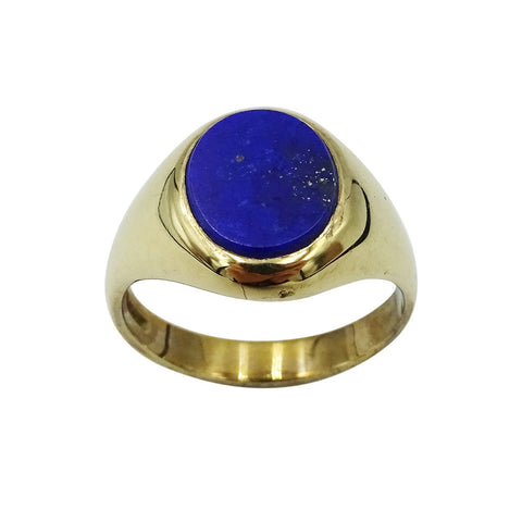 9ct Yellow Gold Gents Blue Lapis Stone Signet Ring 5.5g Size P 1/2 - Richard Miles Jewellers