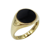 9ct Yellow Gold Gents Heavy Round Onyx Ring Size Q 1/2 6.4g - Richard Miles Jewellers