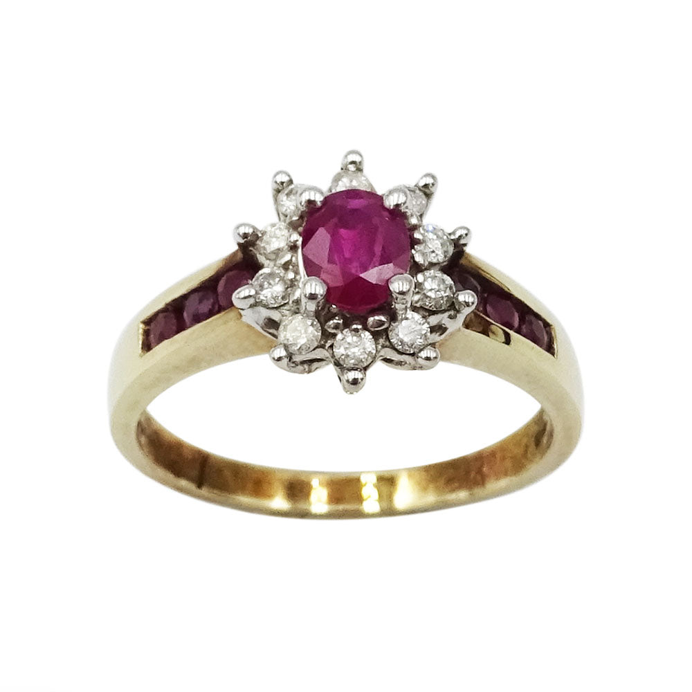 9ct Yellow Gold Ruby & Diamond Cluster Ring Size M 0.06ct - Richard Miles Jewellers