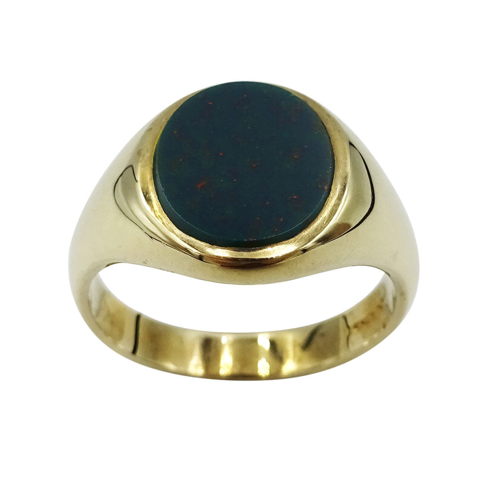 9ct Yellow Gold Gents Bloodstone Signet Ring Size V 1/2 - Richard Miles Jewellers