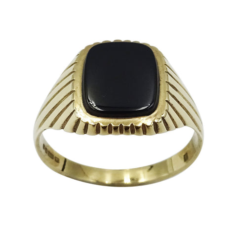 9ct Yellow Gold Gents Black Onyx Ring With Sun-ray Detail Size X 3.8g - Richard Miles Jewellers
