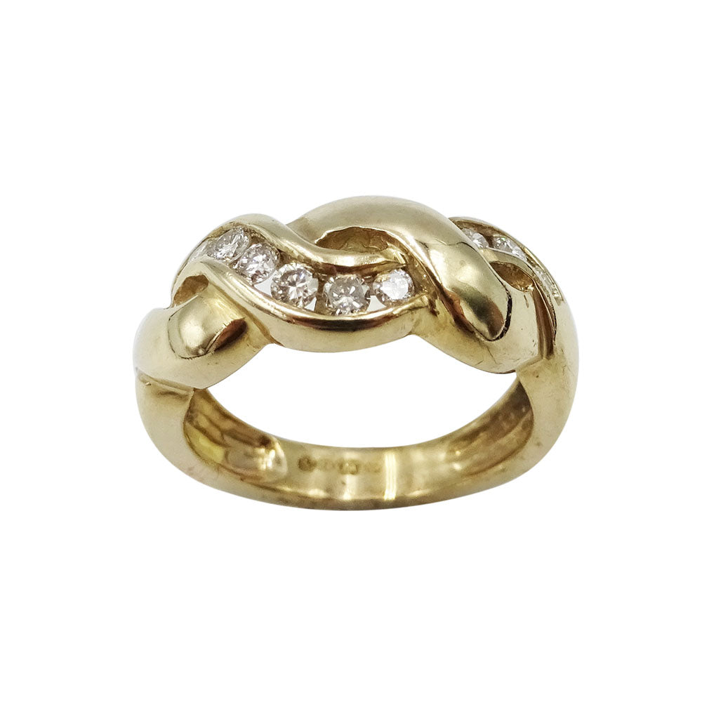 9ct Yellow Gold Diamond Wave Ring Size H 0.25ct - Richard Miles Jewellers