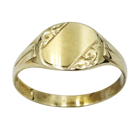 9ct Yellow Gold Child's Engine Turned Signet Ring Size N 1.4g - Richard Miles Jewellers