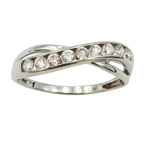9ct White Gold Half Eternity Cubic Zirconia Wave Ring Size M 1.6g - Richard Miles Jewellers