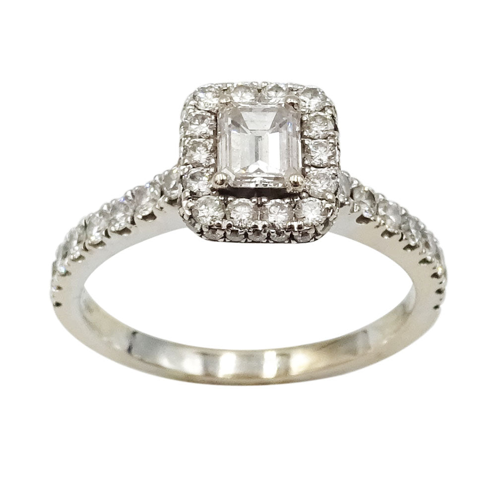 14ct White Gold Emerald Cut Diamond Halo Engagement Ring 'Neil Lane' 1.39ct 4.6g - Richard Miles Jewellers