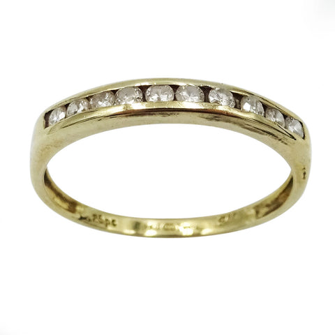 9ct Yellow Gold Diamond Half Eternity Ring 0.25ct Size O 1/2 - Richard Miles Jewellers