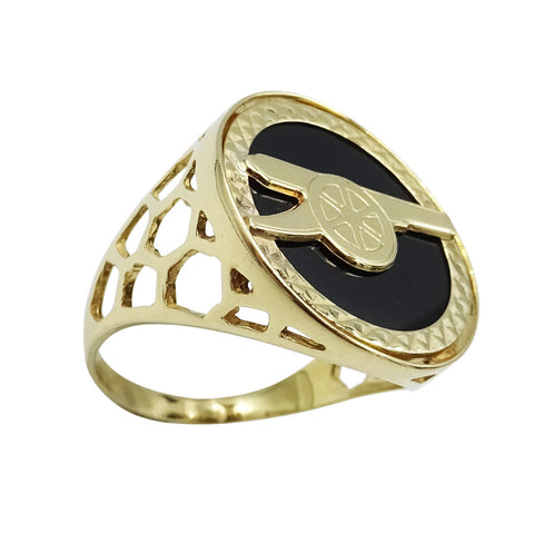 9ct Yellow Gold Onyx Arsenal Football Ring Size N 1/2  3g - Richard Miles Jewellers