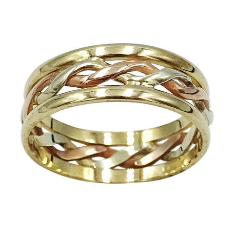 9ct 3 Colour Gold Woven Celtic Ring Size P 3g - Richard Miles Jewellers