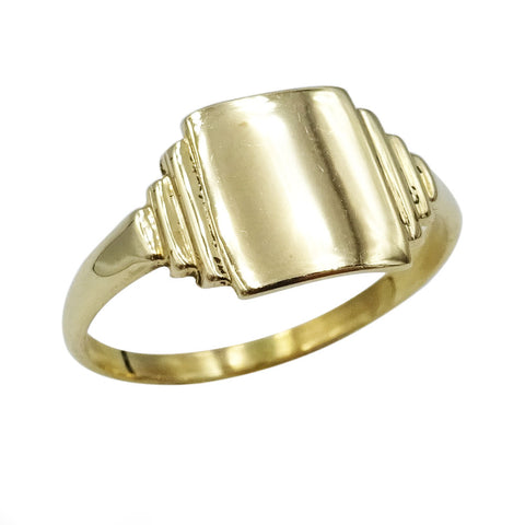 9ct Yellow Gold Art Deco Style Signet Ring Size J 1g - Richard Miles Jewellers