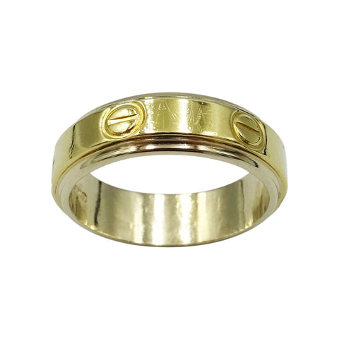 18ct Yellow Gold Gents Cartier Screw Style Wedding Band Size O 3/4 - Richard Miles Jewellers