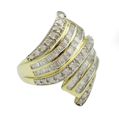 9ct Yellow Gold Large Diamond Cluster Wave Ring Size N 1ct - Richard Miles Jewellers