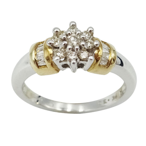 9ct White Gold Diamond Cluster Ring Size M 1/2 0.30ct - Richard Miles Jewellers
