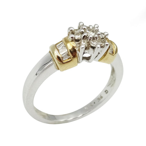9ct White Gold Diamond Cluster Ring Size M1/2 0.32ct