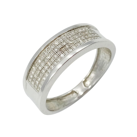 9ct White Gold Pave Set Diamond Cluster Ring Size R1/2 0.25ct
