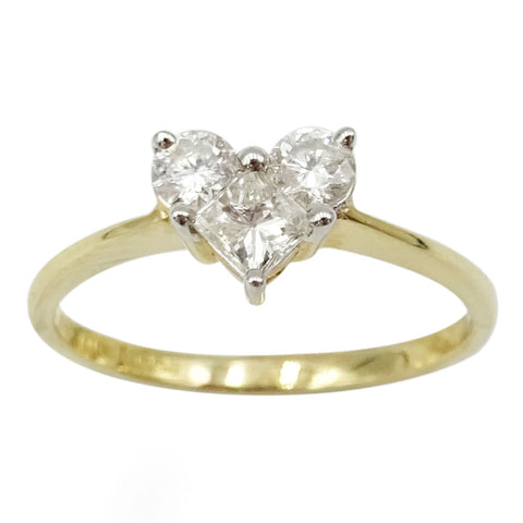 14ct Yellow Gold Diamond Heart Ring Size N 0.52ct