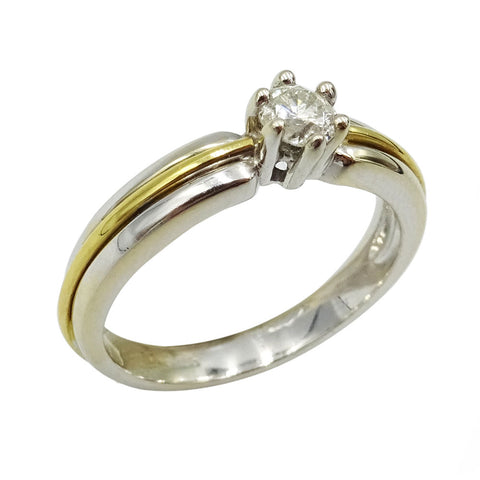 18ct 2 Colour Gold Diamond Solitaire Ring Size O 0.33ct