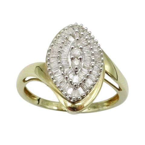 9ct Yellow Gold Baguette Cut Diamond Ring Size N1/2 1ct