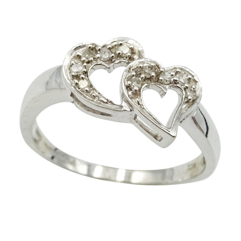 9ct White Gold Diamond Heart Cluster Ring Size M 0.07ct